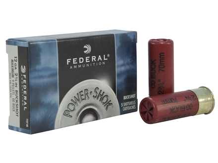 "Federal Power-Shok Ammunition 12 Gauge 2-3/4"" Buffered 00 Buckshot 9 Pellets Box of 5"