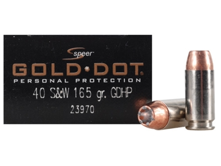 Speer Gold Dot Ammunition 40 S&W 165 Grain Jacketed Hollow Point Box of 20