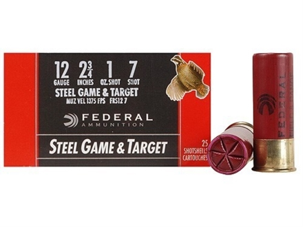 Federal Game &amp; Target Ammunition 12 Gauge 2-3/4&quot; 1 oz #7 Non-Toxic Steel Shot Box of 25