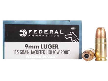 Federal Premium Personal Defense Ammunition 9mm Luger 115 Grain Jacketed Hollow Point Box of 20