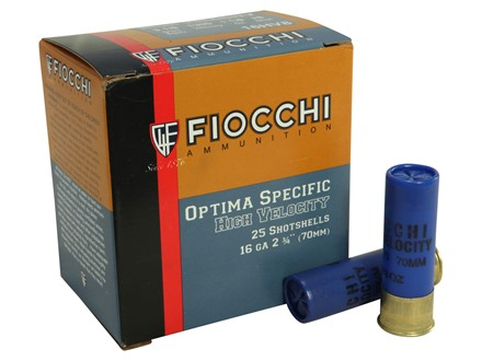 "Fiocchi Hi Velocity Ammunition 16 Gauge 2-3/4"" 1-1/8 oz #8 Chilled Lead Shot Box of 25"
