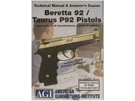 American Gunsmithing Institute (AGI) Technical Manual &amp; Armorer&#39;s Course Video &quot;Beretta 92/Taurus P92 Pistols&quot; DVD