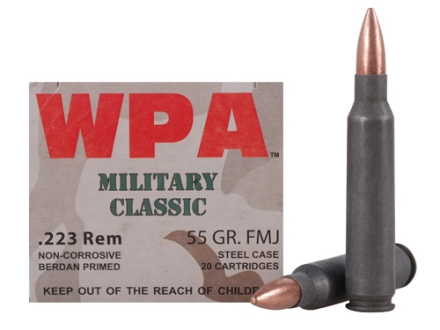 Wolf Military Classic Ammunition 223 Remington 55 Grain Full Metal Jacket (Bi-Metal) Steel Case Berdan Primed Box of 20