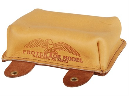 Protektor Large Sausage Front Shooting Rest Bag Leather Tan Unfilled