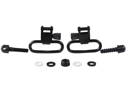 "GrovTec Sling Swivel Studs with 1-1/4"" Locking Swivels Set with Machine Screw Forend Steel Black"