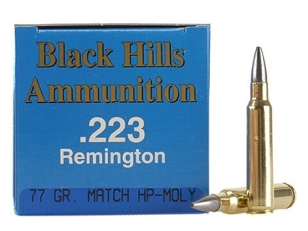 Black Hills Remanufactured Ammunition 223 Remington 77 Grain Sierra MatchKing Hollow Point Boat Tail Moly Box of 50