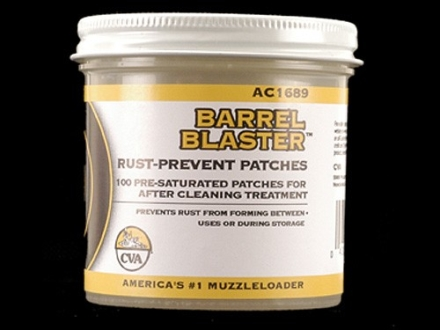 CVA Barrel Blaster Muzzleloader Rust Preventative Cleaning Patches Presaturated Jar of 100