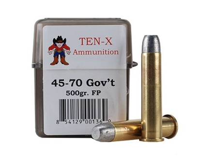 Ten-X Cowboy Ammunition 45-70 Government 500 Grain Flat Point Box of 20