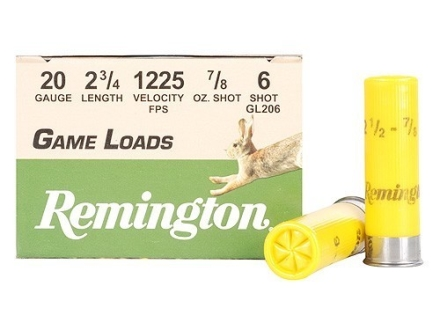 "Remington Game Load Ammunition 20 Gauge 2-3/4"" 7/8 oz #6 Shot Box of 25"