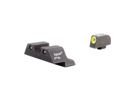 Trijicon HD Night Sight Set Glock 17, 19, 22, 23, 24, 26, 27, 33, 34, 35 Steel Matte 3-Dot Tritium Green with Yellow Front Dot Outline