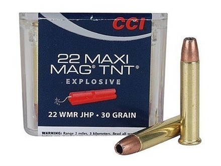 CCI Maxi-Mag Ammunition 22 Winchester Magnum Rimfire (WMR) 30 Grain Speer TNT Jacketed Hollow Point Box of 500 (10 Boxes of 50)