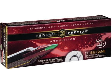 Federal Premium Vital-Shok Ammunition 300 Winchester Short Magnum (WSM) 180 Grain Trophy Copper Tipped Boat Tail Lead-Free Box of 20