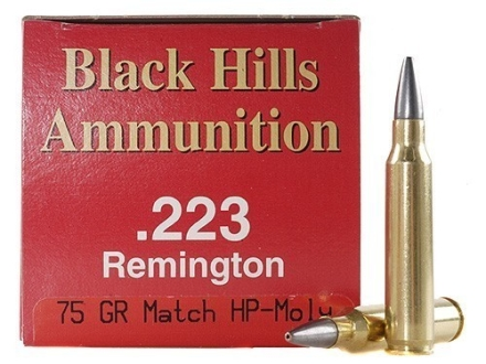 Black Hills Ammunition 223 Remington 75 Grain Match Hollow Point Moly Box of 50