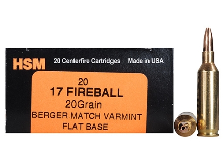 HSM Varmint Gold Ammunition 17 Remington Fireball 20 Grain Berger Varmint Hollow Point Flat Base Box of 20