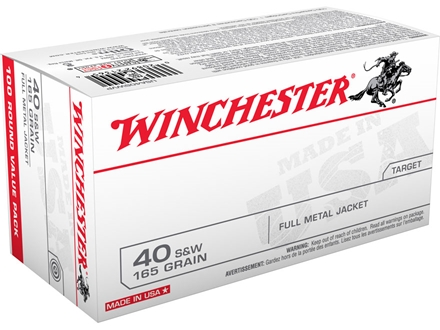 Winchester USA Ammunition 40 S&amp;W 165 Grain Full Metal Jacket Flat Nose Box of 100