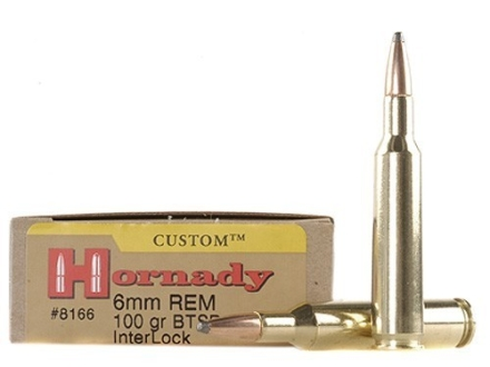 Hornady Custom Ammunition 6mm Remington 100 Grain InterLock Spire Point Boat Tail Box of 20