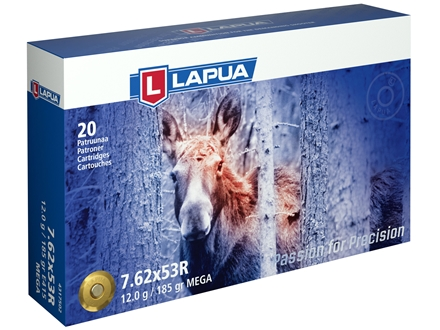 Lapua Mega Ammunition 7.62x54mm Rimmed Russian (7.62x53mm Rimmed) 185 Grain Soft Point Box of 20