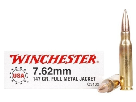 Winchester Ammunition 7.62x51mm NATO 147 Grain Full Metal Jacket Box of 20