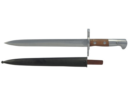 Military Surplus Bayonet with Scabbard Swiss Model 1918 Stainless Steel with Wood Handle