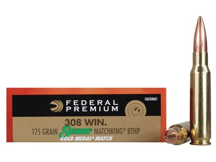 Federal Premium Gold Medal Ammunition 308 Winchester 175 Grain Sierra MatchKing Hollow Point Boat Tail Box of 20
