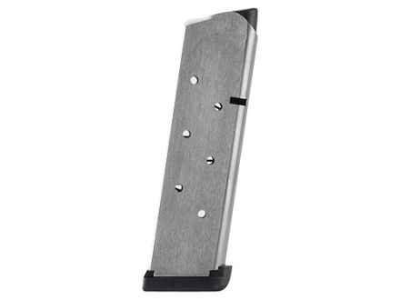 Les Baer Custom Magazine with Base Pad 1911 Government, Commander 45 ACP 8-Round Stainless Steel