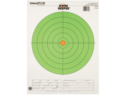 Champion Score Keeper 100 Yard Rifle 8&quot; Bullseye Target 14&quot; x 18&quot; Paper Fluorescent Green Bull Package of 12
