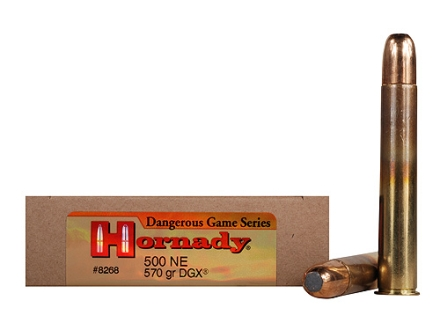 Hornady Dangerous Game Ammunition 500 Nitro Express 3&quot; 570 Grain DGX Flat Nose Expanding Box of 20