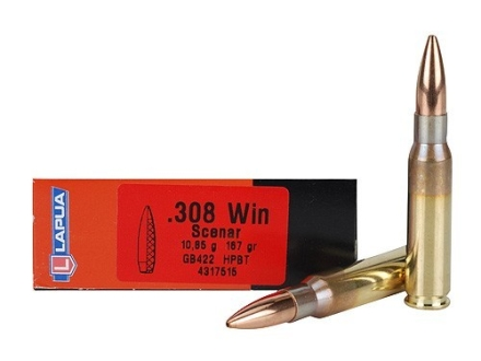 Lapua Scenar Ammunition 308 Winchester 167 Grain Hollow Point Boat Tail Box of 20