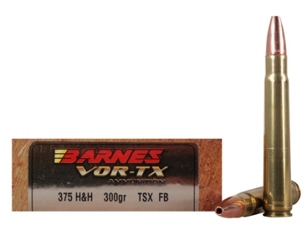 Barnes VOR-TX Safari Ammunition 375 H&H Magnum 300 Grain Triple-Shock X Bullet Hollow Point Flat Base Box of 20