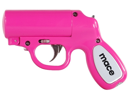 Mace Pepper Gun with LED Light Pepper Spray 28 Gram Aerosol Includes OC Cartridge, Practice Cartridge, and Batteries 10% OC Pink