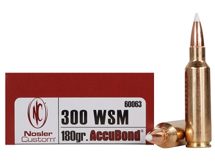 Nosler Trophy Grade Ammunition 300 Winchester Short Magnum (WSM) 180 AccuBond Box of 20