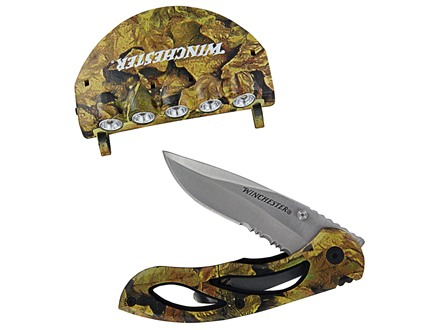 "Winchester Folding Pocket Knife Combo 2.88"" Drop Point Stainless Steel Blade Polymer Handle Camouflage with Cap Light"