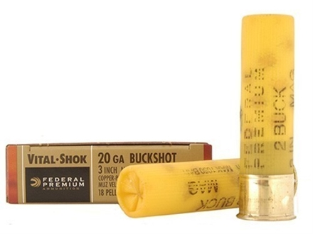 "Federal Premium Vital-Shok Ammunition 20 Gauge 3"" Buffered #2 Copper Plated Buckshot 18 Pellets Box of 5"