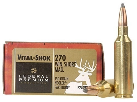 Federal Premium Vital-Shok Ammunition 270 Winchester Short Magnum (WSM) 150 Grain Nosler Partition Box of 20