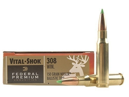 Federal Premium Vital-Shok Ammunition 308 Winchester 150 Grain Nosler Ballistic Tip Box of 20