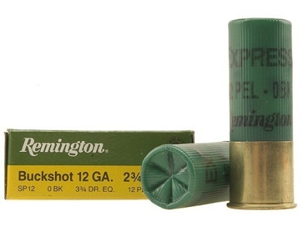 "Remington Express Ammunition 12 Gauge 2-3/4"" 0 Buckshot 12 Pellets Box of 5"