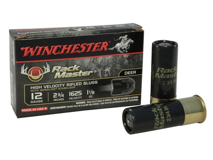 "Winchester Supreme Ammunition 12 Gauge 2-3/4"" 1-1/8 oz RackMaster Rifled Slug Box of 5"