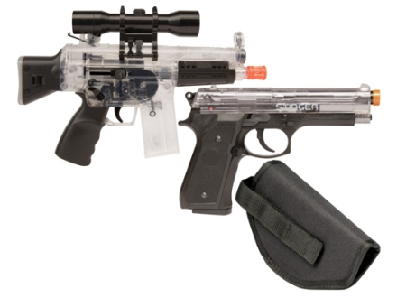Crosman Airsoft Urban Mission Airsoft Rifle and Pistol Kit 6mm Spring/Electric Select Fire Polymer Stock Black and Clear