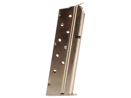 Mec-Gar Magazine 1911 Government, Commander 9mm Luger 9-Round Steel Nickel Plated