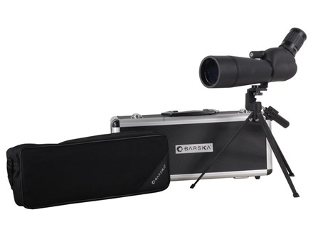 Barska Blackhawk ED Spotting Scope 20-60x 60mm Angled Body with Tripod and Hard Case Rubber Armored Black