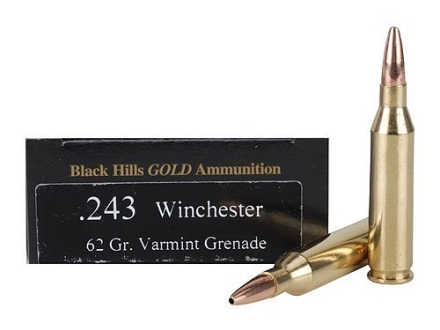 Black Hills Gold Ammunition 243 Winchester 62 Grain Barnes Varmint Grenade Hollow Point Flat Base Lead-Free Box of 20