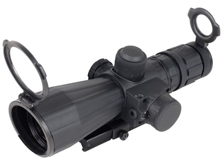 NcStar Mark 3 Tactical Rifle Scope 3-9x 42mm Blue Illuminated Mil-Dot Reticle with Red Laser and Quick Release Weaver-Style Base Rubber Armored Matte