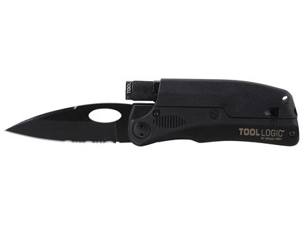 "Tool Logic SLPro Tactical Folding Knife 3"" Partially Serrated Black Oxide Stainless Steel Blade Black Stainless Steel Handle with Fire Starter"