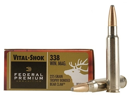 Federal Premium Vital-Shok Ammunition 338 Winchester Magnum 225 Grain Speer Trophy Bonded Bear Claw Box of 20