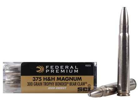 Federal Premium Cape-Shok High Energy Ammunition 375 H&amp;H Magnum 300 Grain Speer Trophy Bonded Bear Claw Box of 20