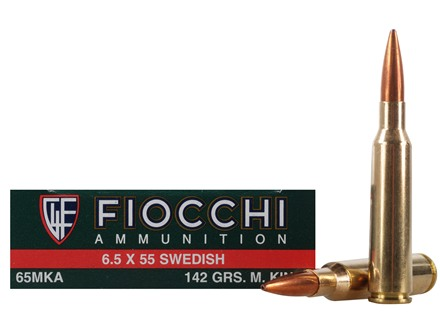 Fiocchi Exacta Ammunition 6.5x55mm Swedish Mauser 142 Grain Sierra MatchKing Hollow Point Boat Tail Box of 20