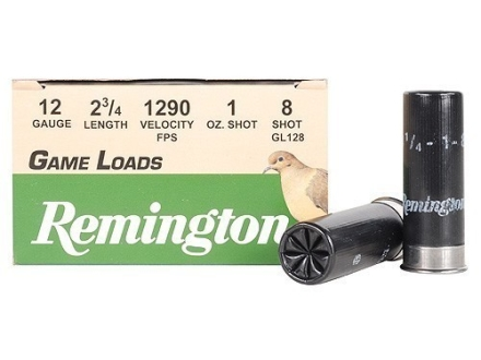 Remington Game Load Ammunition 12 Gauge 2-3/4&quot; 1 oz #8 Shot Box of 25
