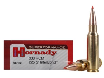 Hornady SUPERFORMANCE Ammunition 338 Ruger Compact Magnum (RCM) 225 Grain InterBond Boat Tail Box of 20
