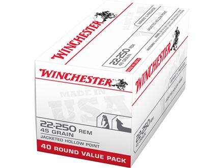 Winchester USA Ammunition 22-250 Remington 45 Grain Jacketed Hollow Point Box of 40