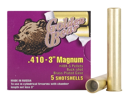 "Golden Bear Ammunition 410 Bore 3"" #4 Buckshot 5 Pellets Box of 5"